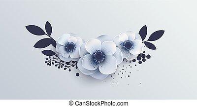 Wedding Bouquet of flowers anemones. Vector illustration of...