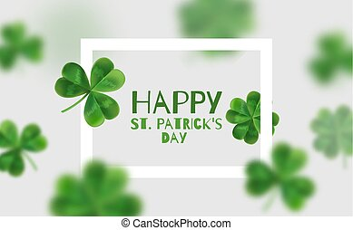 Background with clovers 3d effect. Poster with place for...