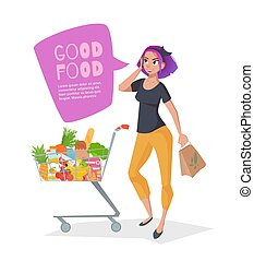 Young woman talking on the phone in a supermarket with a shopping basket full of groceries.