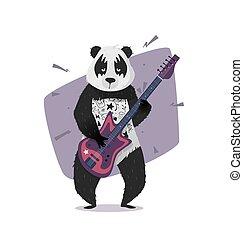 Rocker panda playing the guitar.