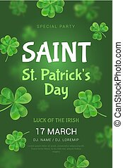 The poster for a party in honor of St. Patrick's Day.