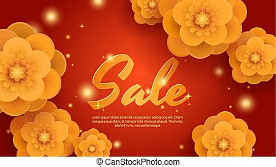 Sale red background with gold paper flowers.
