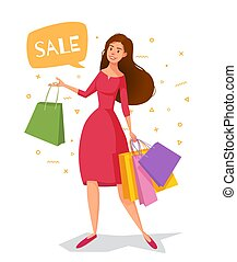Woman cartoon in a red dress with packages goes shopping.