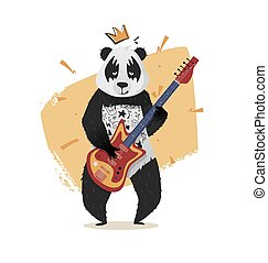 Panda with a crown plays guitar.