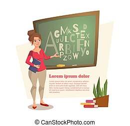 female teacher shows on the board where the letters are written
