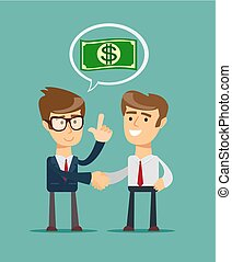 Two businessmen shaking hands to seal an agreement. Vector...