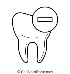 Tooth icon with negative mark icon, vector illustration