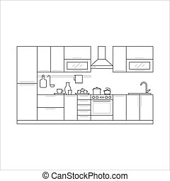 Kitchen furniture in thin line style. Set with fridge,...