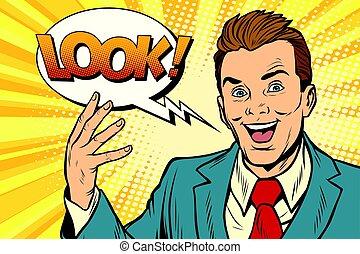 Active joyful speaker businessman look. Pop art retro vector...
