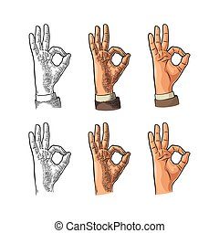 Hand showing symbol okay. Vector color vintage engraving and flat