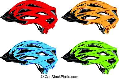 Helmets. - Designs of cyclist helmets.