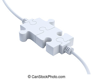 Plugs from puzzle - 3D concept
