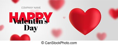 Elegant banner with the text Happy Valentine's Day.