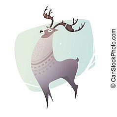 Illustration Reindeer breeding.