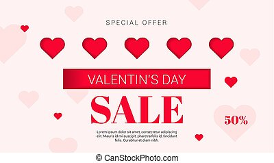 Sale flyer with hearts on Valentine's Day . Vector illustration.