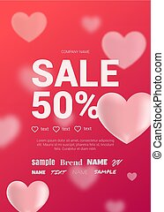 Bright sales flyer with hearts for Valentine's Day.