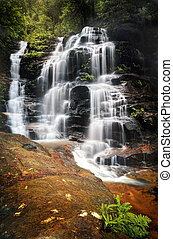 Cascading Sylvia Falls waterfall in the Blue Mountains -...
