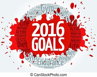 2016 Goals circle word cloud, business concept background