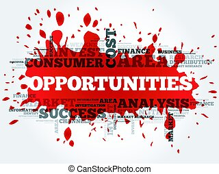 Opportunities word cloud, business concept