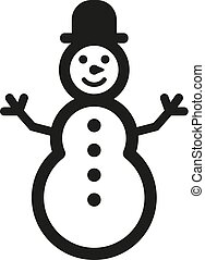 Snowman icon. New year and xmas, christmas, winter symbol. Flat design. Stock - Vector