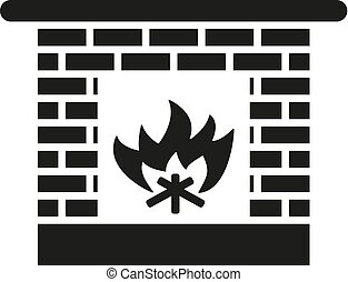 Fireplace icon. Hearth and chimney, fire, mantelpiece, heat...