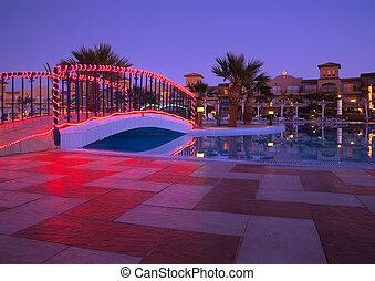 resort hotel in dusk