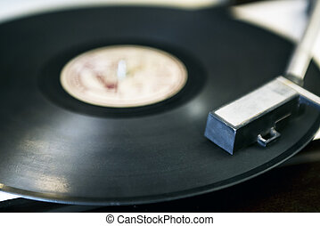 Record player close up shot. - Old - fashioned record player...
