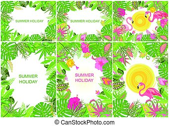 Summery tropical backgrounds with exotic flowers, leaves and...