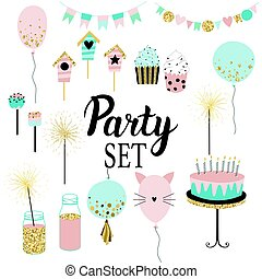 Party set of decorations, toppers, baloons, cakes, garlands...
