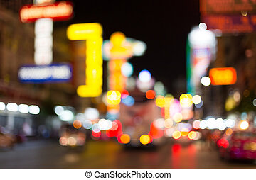 Blurred traffic lights bokeh background in China Town...