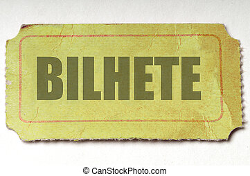 Yellow Ticket: Portugese - Crumpled yellow ticket with the...