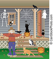 Halloween Cats - Vector illustration of cats playing with...