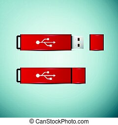 Red USB flash drive icon isolated on blue background. Vector Illustration