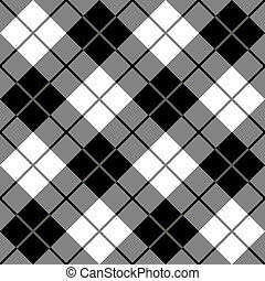 Bias Plaid in Black and White - Vector seamless 45-degree...