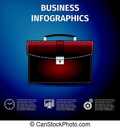 Business infographics. Briefcase red business icon isolated...