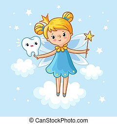 Lovely fairy with a tooth and a magic wand.