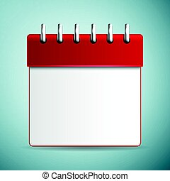 Calendar red icon isolated on blue background. Vector Illustration