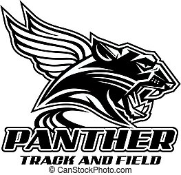 panther track and field team design with mascot head and...