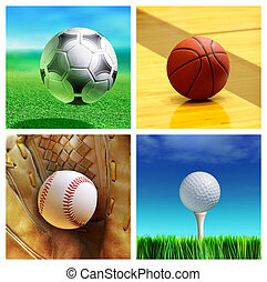 sport balls - collage of sport balls which correspond to the...