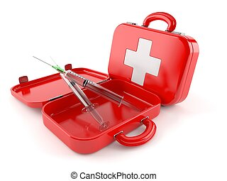 First aid kit with syringe