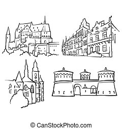 Luxembourg Luxembourg Famous Buildings, Monochrome Outlined...