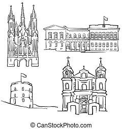 Vilnius Lithuania Famous Buildings, Monochrome Outlined...