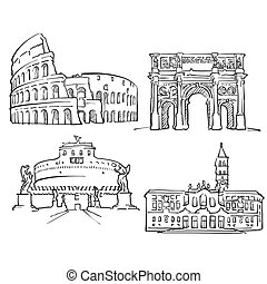 Rome Italy Famous Buildings, Monochrome Outlined Travel...
