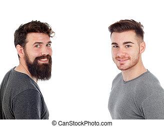 män, två, skägg