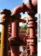 Color;ful Industrial Pipes - Colorful old pipes of...