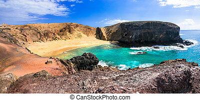 Beautiful beach Papagayo in Lanzarote. Canary islands, Spain...