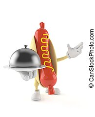 Hot dog character holding catering dome