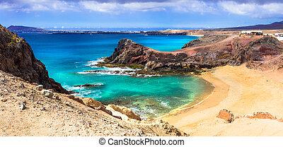 Unique volcanic island Lanzarote - beautiful beach Papagayo,...