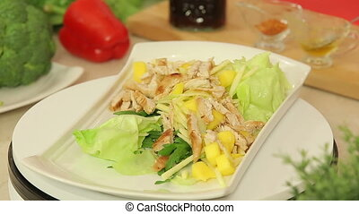 Roasted chicken with fruit and vegetable salad mix -...