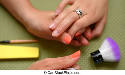 beautician make manicure - Cosmetologist making preparations...